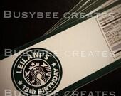 Starbucks Inspired Water Bottle Label 24ct