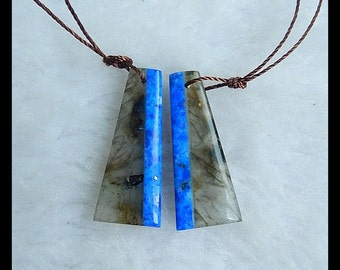 Labradorite,Lapis Lazuli Intarsia Earring,29x12x3mm,4.5g
