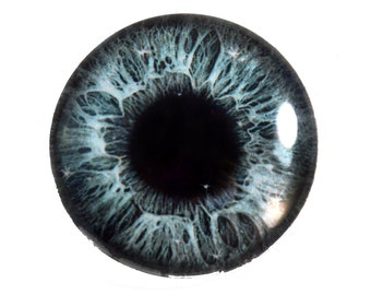 25mm Dark Grey Sparkling Glass Eye for Jewelry Making or Taxidermy Doll Sculptures Eyeball Flatback Circle Cabochon