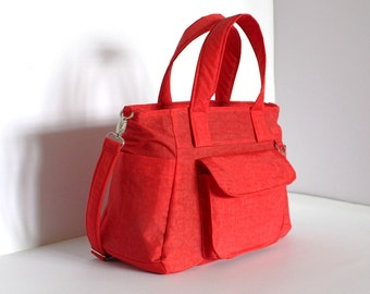 Sale - Red Water-resistant nylon bag, Shoulder bag, Tote, Handbag, Messenger, Purse, Travel bag, 3 Compartments, 8 Pockets - Mini Nuch