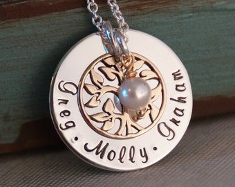 Tree of life Necklace / Hand Stamped Mommy Jewelry / Family Tree Pendant / My Family with pearl (Bronze - Small)