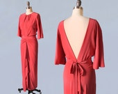 1940s Crepe Gown / 40s Pink Silk Formal Long Dress / OPEN BACK / Evening Gown XS
