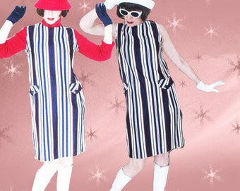 60s MOD Shift Dress & Belt - 1960s Vintage Red White Blue Knit Jumper Dress - All Seasons