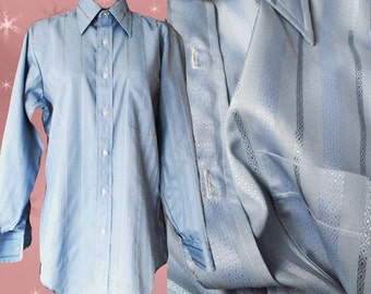 Men's Vintage Blue Dress Shirt - 70s Arrow Button Down Long Sleeve - 16 1/2 Neck