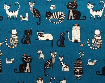 Japanese cotton fabric cat printed Half yard blue colour