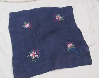 Solid Blue Cotton Hankie Handkerchief Embroidered