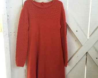 1960s vintage deep orange a line knit dress xs