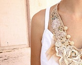 HOLIDAY SALE New bib  necklace Summer V-shape Bib Necklace enriched with decorative real shells, antique lace flowers & beads