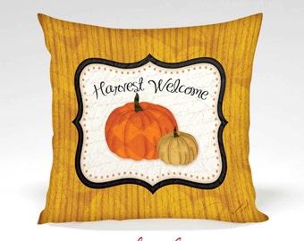 Harvest Welcome Decorative Pillow -Halloween, Thanksgiving, Fall, Home Decor, Orange, Black, White, Stripes, Full Inserted Pillow