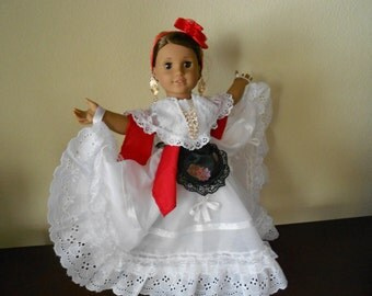 "CUSTOM ORDER Mexican folklorico Veracruz dress for 18"" dolls like American Girl"