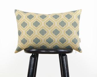 Gold Trellis Pattern | Metallic, Aqua Blue, Yellow and Beige Decorative Throw Pillow Case, Cushion Cover 12x18 or 16x16 | Modern Home decor