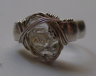Miniature Wire Wrapped Silver Ring with 'Pakimer' Quartz Crystal, sz. 3