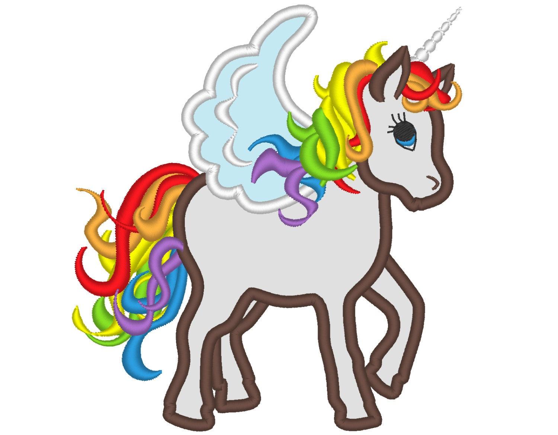 Free Machine Embroidery Design Unicorn Rainbow Stars