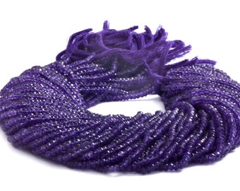 Amethyst Natural micro Faceted Beads rondelle 2.5mm to 3.25 mm Sold per 14-inch strand AAA Quality