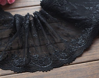 2 Yards Lace Trim Black Flowers Embroidered Tulle Lace 7.87 Inches Wide High Quality