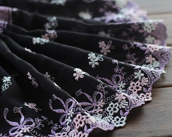 2 Yards Embroidered Lace Trim Pink Bows Embroidered Black Tulle Lace Trim 7.48 Inches Wide