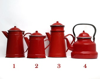 1 Pretty Completed French Vintage Enamel red coffee pot, bright tea pot,item number 3, enamelware Home Decor,French Country,Red kitchen