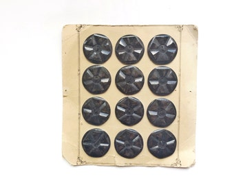 12 Black Grey Buttons, Large, Antique, French, Button Card