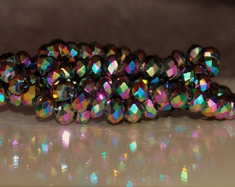 20pcs 8x6mm Metallic Rainbow AB Faceted Rondelle Glass Beads
