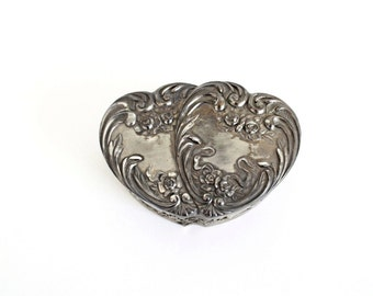 Antique Vintage Silver Jewelry Box . ring bearer pillow alternative . vintage ring box . vintage music box . double heart silver box