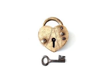Vintage Old Lock / love lock old padlock . alternative ring pillow . rustic wedding decor . wedding gift padlock