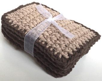 SALE - Crochet Sponge Dishcloth Washcloth - THICK - Set of 4 - Tan, Brown - 100% Cotton