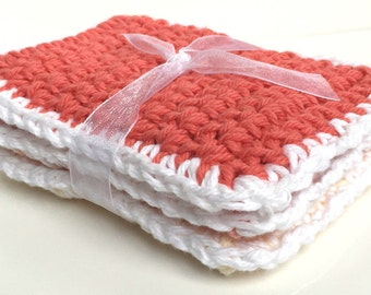 Crochet Dishcloths Washcloths - Set of 3 - Kitchen, Bathroom, Baby - Ombre Peach, Yellow - 100% Cotton