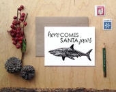 Santa Jaws animal pun holiday cards christmas cards Shark Card Shark Christmas animal xmas funny clever card here comes santa great white
