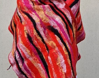 BIG SALE - Beautiful shawl, felted scarf, silk, wool, felted, gift, fiber art, red, black, yellow