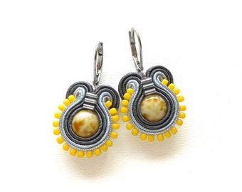 Yellow Earrings Yellow Drop Earrings Soutache Earrings Yellow Dangle Earrings Small Drop Earrings Yellow and Grey Earrings Yellow and Gray