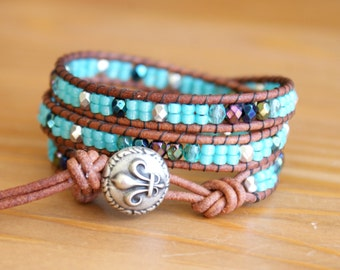 Beaded leather wrap bracelet, Brown, Turquoise, Sea foam, Fleur de Lis, gift idea, bohemian, hipster by OlenaDesigns