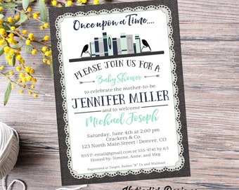bring a book baby shower invitation tribal BOHO chic arrow sprinkle mint green navy burlap lace rustic theme library gray 12122 bookshelf