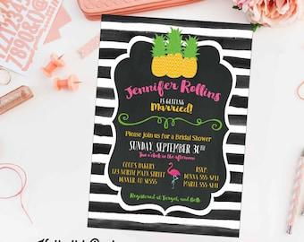 pineapple bridal shower invitation black and white stripe baby girl flamingo chalkboard wedding birthday engagement couples item 344 summer