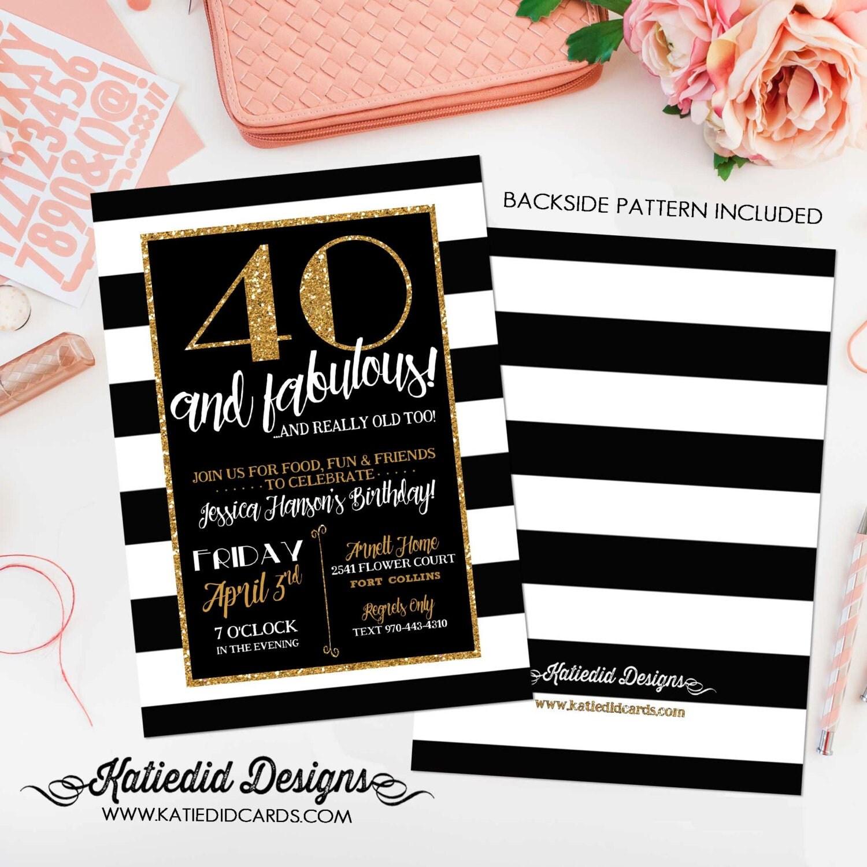 40th Birthday invitation black and white stripe gold retirement – Invitations 40th Birthday
