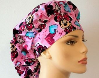 Minnie Mouse and Hearts All Over Womens Bouffant Scrub Hat