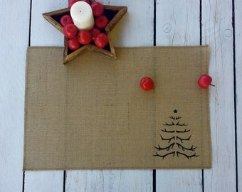Antler Christmas tree Burlap placemats,  screen printed place mat,burlap place mat, table mat, christmas table linen