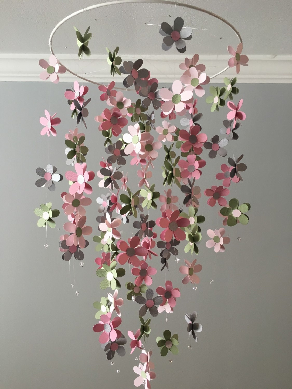 Flower mobile in gray sage and pink nursery mobile baby for Baby mobile pink and grey