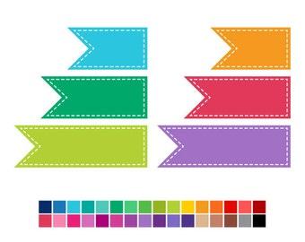 Banner Flag Clip Art, banner clipart, flag clipart, digital clipart, digital clip art, instant download, vector graphics