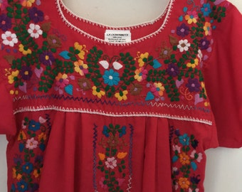 Vintage Mexican Dress Red Embroidered Florals Hippie Boho