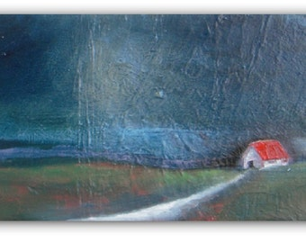 Barn in the Night - original oil painting - landscape painting - canvas