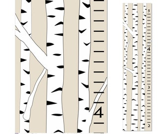 Birch Tree Growth Chart Children Kids Canvas Ruler Birthday Gift Baby Shower