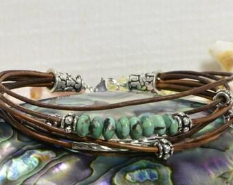 Nevada Turquoise Leather bracelet  Multi Strand Bracelet Bangle Bracelet Boho Jewelry Hippie Bracelet