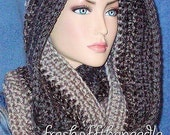 Gray Crochet infinity Scarf, Men's Scarf, Crocheted Scarf, Grey Crochet Infinity Scarf, Black Crochet Infinity Scarf, Handmade Men's Scarf