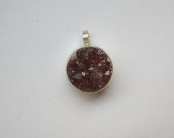 Amethyst Druzy Sterling Silver Pendant
