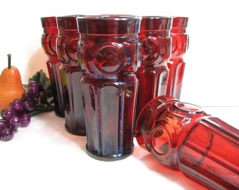 Ruby Red Tumblers 16oz, Wheaton BULLSEYE Mid Century Modern Glassware, Iced Tea Glasses, Pint Beer Glasses, Set of 8 ... Mid Century Barware