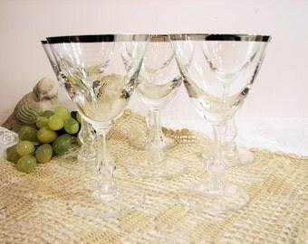 "Mid-Century Blefeld Silver Rim / Platinum Band Crystal Red Wine or Cocktail Glasses, Set of 6 or 12, 5 1/8"" 4oz Stemware ... Vintage Barware"