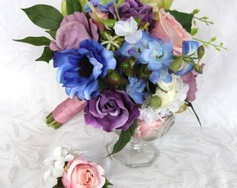 Pink purple and blue bridal bouquet and boutonniere set