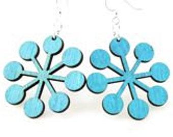 Modern Snowflake - Wood Earrings
