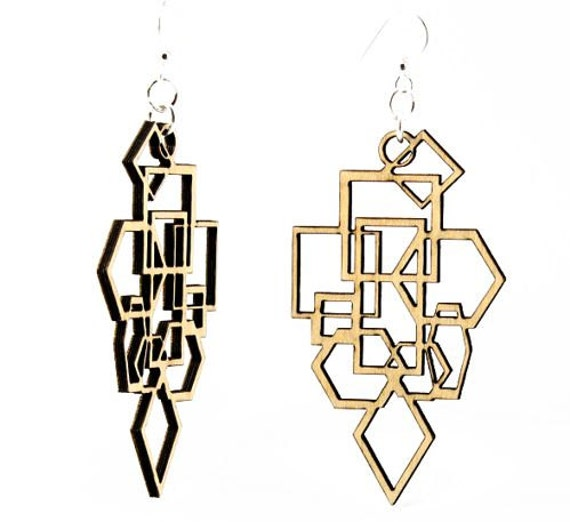 Diamonds and Squares - Wood Earrings
