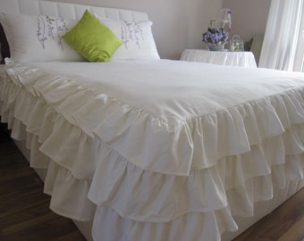 Linen ruffle skirted bedspread- waterfall 3 tiers rows ruffle Queen king bed spread, shabby chic beach cottage bedding, coverlet Nurdanceyiz
